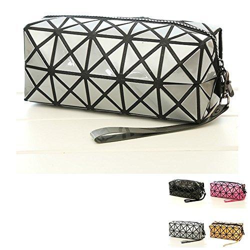 Tasche Falten (Grau Geometrische Faltbare Kosmetiktasche für Make-up, Rhombus Falten Gitter Würfel Handtasche, Make-up Werkzeug Aufbewahrung Tasche Geldbörse Kulturbeutel Organizer)