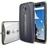Nexus 6 Funda - Ringke FUSION ***Todo Nuevo Polvo Tapa Libre & Caída Protección*** [Protector de Pantalla Gratuito][SMOKE BLACK] Prima Crystal Clear Back Absorción de Choque de Parachoques del Funda Duro con Protección de Pantalla HD Gratis para Google Motorola Nexus 6 (No para Huawei Nexus 6P 2015) - Eco/DIY Paquete
