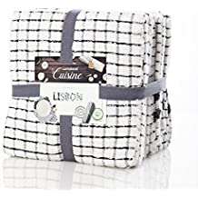 Paños de cocina Lumaland Serie de Lisboa 5 colores . Set 10 piezas 100% algodón 45 x 90 cm negro