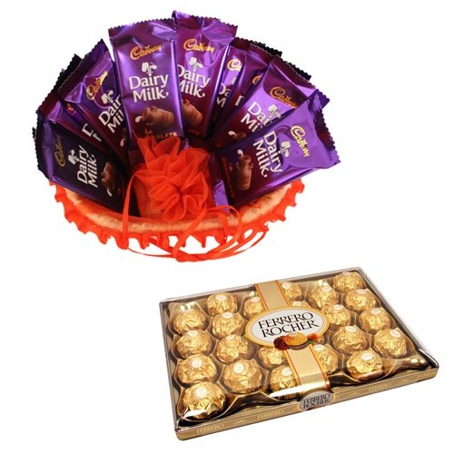 Chocolate Basket Full Of Love With 24 Pcs Ferrero Rocher