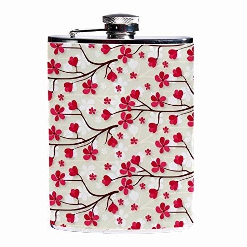 Leak Proof Liquor Hip Flask 7.6 oz Flagon Mug Leather Cover with Beautiful Cherry Blossom print Pocket Container for Discrete Shot Drinking of Whiskey Alcohol Liquor Cherry Blossom Sake Set