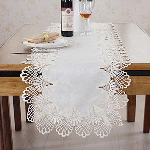 QiangZi Nappe Lavable De Table De Dentelle Blanche De Chemin De Table Plage / Cuisine / Salon / Napperon De Douche Nuptiale, 40 * 200CM ( taille : 40*90CM )
