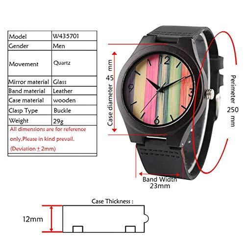 WRENDYY Holzuhren Neuartige Regenbogenfarben Streifen Holzuhr für Männer Casual Frauen Leder Armbanduhren Uhr Ultraleichte Uhren -
