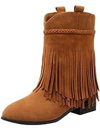 cff7c32593068e Coolulu Ankle Boots Bequeme Stiefeletten Flach mit Fransen Slip on Stiefel  3cm Absatz