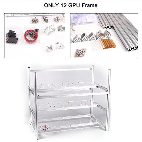 12 GPU Mining Miner Rig Case Aluminum Stackable Mining Unassembled Com
