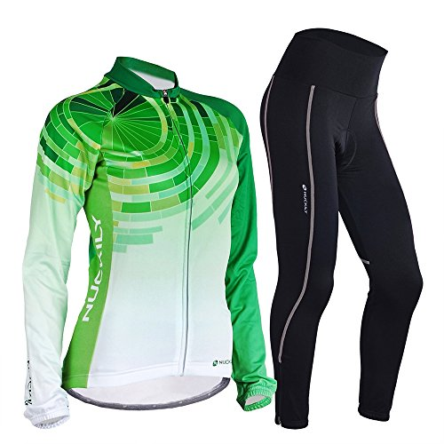 NUCKILY Women Bike Jersey Suit Thermal Fleece Long Cycling Shirts and Tights XX-Large -