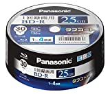 Panasonic Blu-ray BD-R Recordable Disc | 25GB 4x Speed | 30 Pack Ink-jet Printable