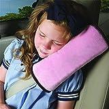 HENGSONG Schlafkissen Nackenstütze für Kinder Auto Baby Kind Sicherheitsgurt Autositz Kopfkissen Gürtel Pillow Schulterschutz (Rosa)