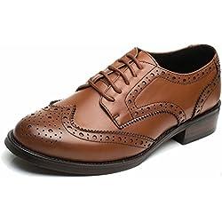 Las mujeres perforaron Wingtip Leather Oxfords, Vintage Brogue cómodo Office Low Heel Shoes marrón 40.5