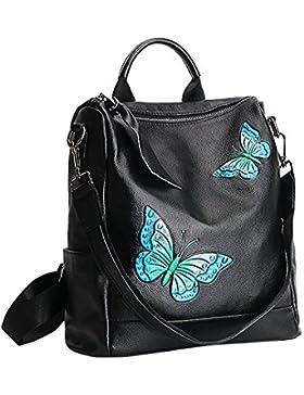 Menschwear Damen Echtes Leder Rucksack Wandern Reisetasche 29cm