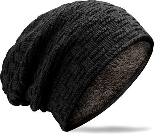 Grin&Bear Long Slouch Beanie Grobstrick Teddyfleece schwarz M10