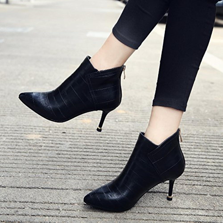 GTVERNH-El otoño y el invierno botas de tacón alto botas de mujeres señaló Europa y los Estados Unidos bien con...