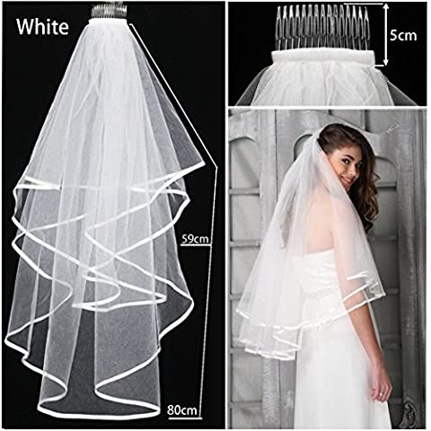 jjonlinestore- 2-Tiers Blanc ou ivoire élégant beau mariage voile de mariée Satin Edge avec coude Peigne de mariée UK