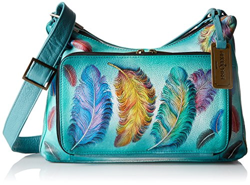 Anuschka handbemalte Ledertasche, Schultertasche für Damen, Geschenk für Frauen, Handgefertigte Tasche mit Fach- Twin-Top Zip Entry, multi compartment handbag (Floating Feathers 479 FFT) (Grain 8 Pocket Top)
