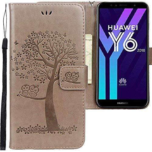 CLM-Tech Huawei Y6 2018 Hülle, PU Leder-Tasche Schutzhülle mit Stand, Kartenfächern, Baum Eule grau, Lederhülle für Huawei Y6 2018