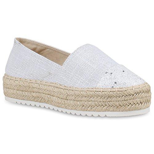Stiefelparadies Damen Schuhe Bast Slipper Profilsohle Espadrilles Glitzer Zehenkappe 156239 Weiss 39 Flandell rxlyX0VcT