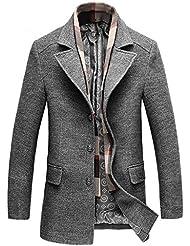 Zicac Manteau veste manches longues col roulé avec une écharpe amovible Homme pour l`automne l`hiver