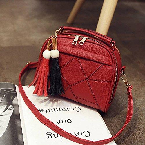 Lammfell Handtasche Lässig Weibliche Große Kapazität Tote Bag Umhängetasche mit Anhänger , schwarz -