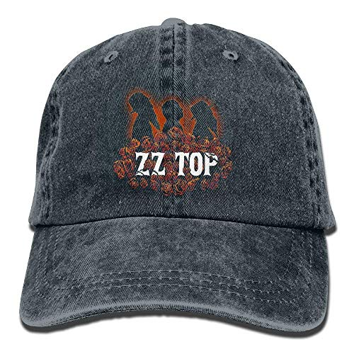 Kpaoaz Men's Black Adjustable Vintage Washed Denim Baseball Cap ZZTop Dad Hat Trucker Cap
