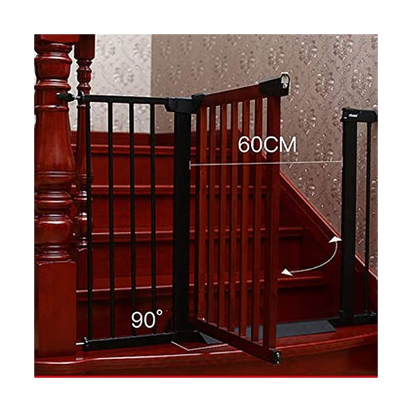 Staircase guardrail baby child safety isolation gate fence protective fence pet dog free punching fence AA-SS-Safety Door ▶Squeeze and lift handle for easy one handed adult opening ▶Four point pressure fit - U shaped power frame provides solid pressure fitting ▶Pressure indicator assures baby gate is installed correctly 3