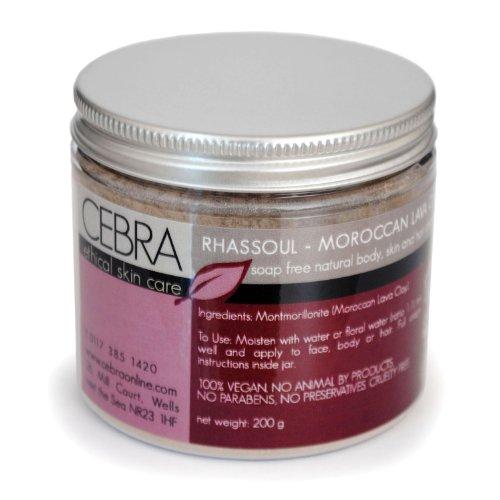 Cebra ethical skincare Marokkanische Rasul Lavaerde - Ghassoul Rhassoul - Fair Trade - 200g - zur Gesichtsreinigung und zur Haarpflege - als Gesichts-, Hand-, Fuss- und Haarmaske - Körperpeeling