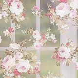 Gardinenstoff Dekostoff Organza Pfingstrosen weiß rosa
