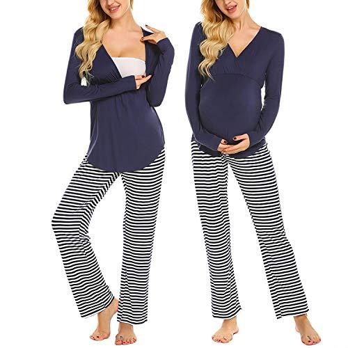 MAXMODA Damen Stillpyjama Umstandspyjama Stillschlafanzug Zweiteilige Nachtwäsche Hausanzug Pyjamas Langarm Shirt & Lange Hose mit Stillfunktion Homewear S-XXL
