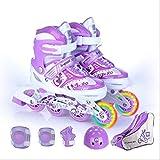 STBB Patines Niños En Línea Patinaje Patines Zapatos De Patinaje Casco Protector De Rodilla Engranaje Ajustable Lavable Ruedas Duras Adolescentes 4 Colores Púrpura L EUR 38-41
