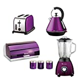 Gift set of: Toaster, Blender, Bread Bin, 3 Canisters and Kettle in Purple, Black, Red or Silver (Purple)