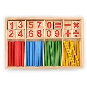 hibote 52 Spindles Holz Zahl Sticks Mathematik Material Educational für Kind Kind