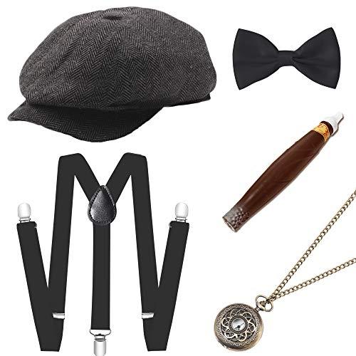 ArtiDeco 1920s Herren Accessoires Mafia Gatsby Kostüm Set inklusive Panama Gangster Hut Verstellbar Elastisch Hosenträger Herren Halsschleife Fliege Taschenuhr und Plastik Zigarre (Set-11)