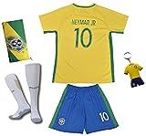 Brasilien #10 Neymar JR. Heim Kinder Fußball Trikot Hose und Socken (22 (5-6 Jahre))