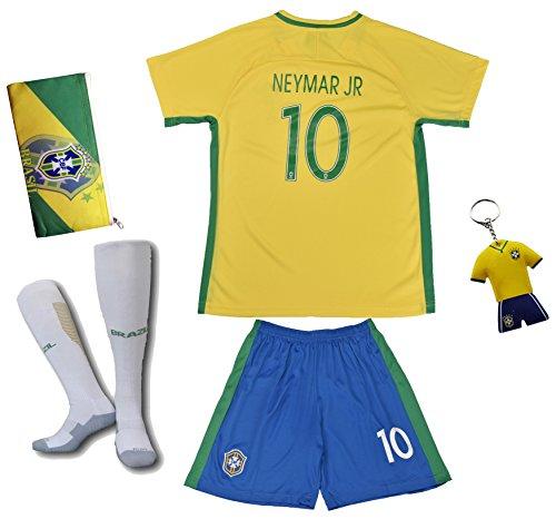 Brasilien #10 Neymar JR. Heim Kinder Fußball Trikot Hose und Socken (26 (9-10 Jahre))