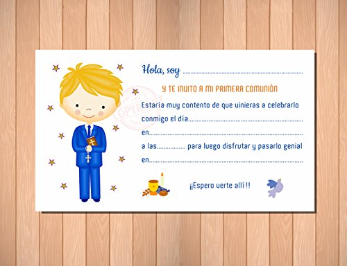 Invitaciones para Primera Comunión niño. Elegantes, Límpias y Bonitas para ...