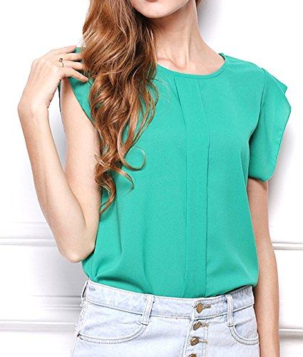 ... Sommer Strand Oberteile Damen Mode Reizvolle Rundhals T-shirt Einfarbig  Top Chiffon Blouse Kurzärmlig Hemden ...