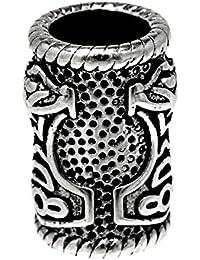 Bartperle Lockenperle aus Edelstahl, Design Thorshammer 5mm