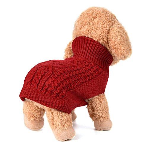 Haustier Wolle Pullover für Winter, Hmeng Solid Kapuzenpulli Kleidung Cute Puppy Hoodie Bekleidung Kostüm Mantel (S, Rot) (Modische Wolle Solid)