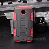 Motorola Nexus 6 Custodia, Cocomii Robot Armor NEW [Heavy Duty] Premium Belt Clip Holster Kickstand Shockproof Hard Bumper Shell [Military Defender] Full Body Dual Layer Rugged Cover Case Paraurti Google (Red)