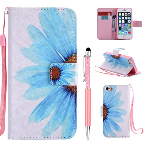 Cover Pelle per iPhone SE Custodia,per iPhone 5S Custodia,per iPhone 5, ZCRO Cover Flip Portafoglio Libro in Pelle PU Wallet Case Multifunzione Copertura Colorate Disegno Modello Caso con Magnetica Ci Fiore