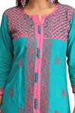 Lucknow-Chikan-Handcrafted-Regular-Wear-Cotton-Kurti-Kurta-by-ADA-A232405Sea-Green