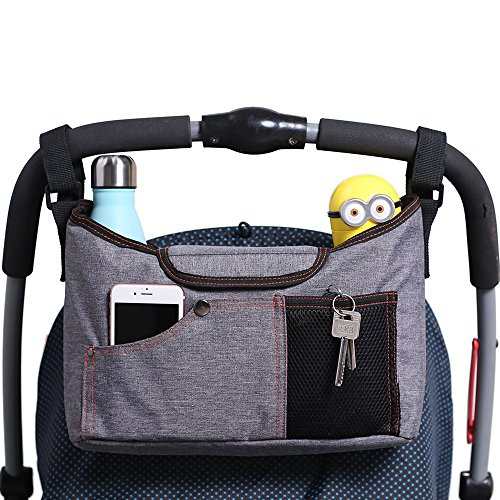 Kinderwagen Organizer, AMZNEVO Bester Baby Jogger Buggy Organizer Tasche mit Zwei Becherhalter, Universale Kinderwagen tasche, Stauraum für Baby Zubehör (grau)
