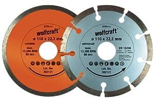 Wolfcraft 8390000 Disques diamant cont/segm Diamètre 110 mm Lot de 2