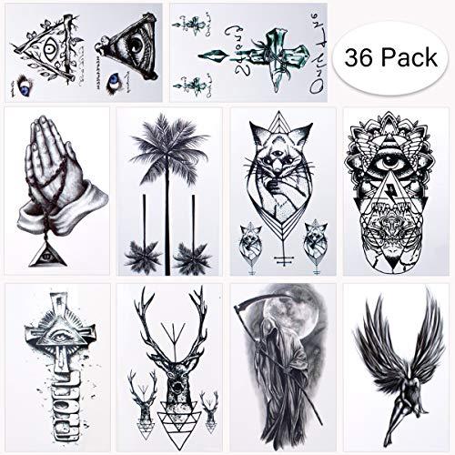 Brt 36 fogli tatuaggi temporanei impermeabili tatuaggi fasulli tatuaggi adesivi body art tatuaggi di trasferimento nero per spalle braccia gambe posteriori