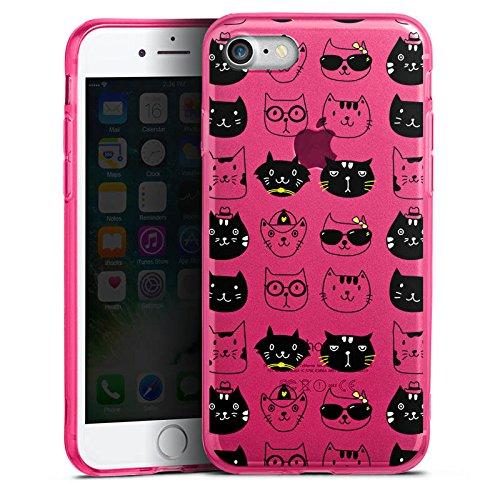 Apple iPhone 8 Silikon Hülle Case Schutzhülle Katzen ohne Hintergrund Cats Silikon Colour Case pink