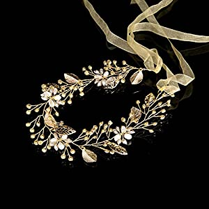 AmDxD Vergoldet Haarschmuck Mädchen Blatt Hohl Zirkonia Perlen Haarbänder Hochzeit Gold