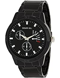 Golden Bell® Original Chronograph Look Black Dial Black Stainless Steel Analog Wrist Watch For Men - GB-773