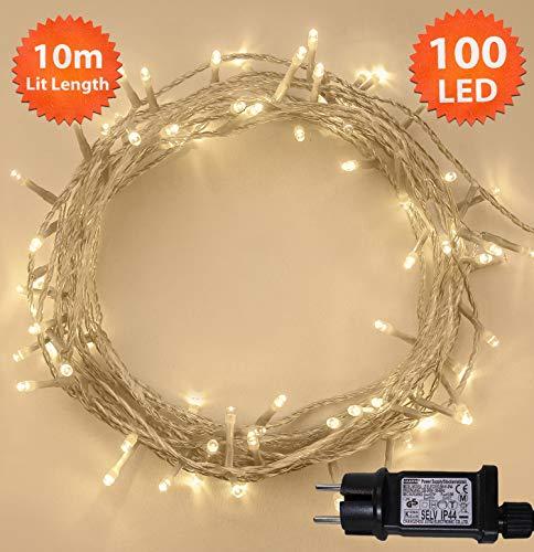 Weihnachts-Lichterketten 100 LED warme weiße Baum-Lichter Innen- und im Freiengebrauch Weihnachtsschnur-Lichter Netzbetriebene feenhafte Lichter 10m / 33ft Lit-Länge - KLARES KABEL