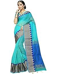 Pisara Women Banarasi Cotton Silk Saree With Blouse Piece,Blue Sari