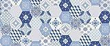 ID Mat Hexagone Boston, Fibres Synthétiques, Bleu, 50x120x0,5 cm