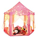 Shayson Tenda per Bambini, Princess Castle Tenda, Large Playhouse Kids per Festival Tenda Fairy Castle (Tenda + luce della stella)